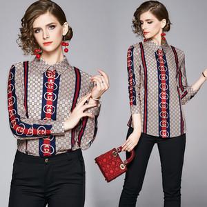 디자이너 셔츠 버튼 긴 소매 여성 럭셔리 인쇄 2020 봄 가을 활주로 OL 숙녀 캐주얼 사무실 블라우스 옷깃 목 슬림 탑스