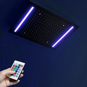 사각형 다채로운 LED 빛 샤워 헤드 블랙 레인 폴 샤워기을 (를) 욕실 (304) SUS 샤워 핸드 천장 마운트