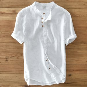 with a Men's short sleeve white navy khaki stand collor linen casual shirts solid summer shirt for men