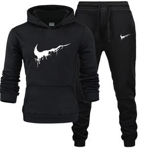 Nuovo caldo due parti ha regolato Moda Hoodies Sportswear Uomini Tuta con cappuccio autunno uomini di marca di vestiti hoodies + ansima gli insiemi