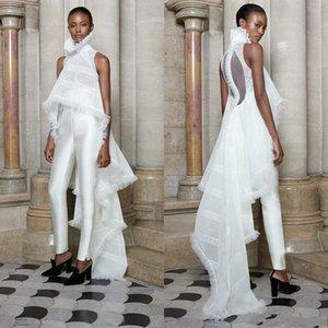 2019 blanc ashi studio robes de bal à col haut costumes deux pièces robe de soirée blanche Custom Made robes de soirée formelle Occasion Porter