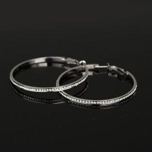 Single row full diamond women ear studs popular and creative earrings top grade auriculars platinum/platinum inlaid gem geometry