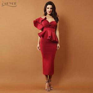 Adyce One Shoulder Celebrity Evening Party Women 2020 Sexy Bodycon Sets Ruffles Short Sleeve Strapless Club Dress Vestidos MX200518
