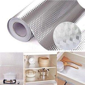 40x100 200cm Kitchen Oil-proof Waterproof Stickers Aluminum Foil Kitchen Stove Cabinet Self Adhesive Wall Sticker DIY Wallpaper