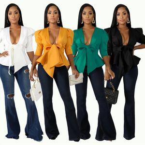 T-shirt de designer femmes sexy club creux sur la veste bandage t-shirt à encolure en V à volants cardigan outwear couleur unie automne vêtements 1343