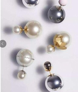 DesIgner Luxury New ShinIng Full Crystal Double SIdes Pearl Stud Inlaid Jewelry Earrings Pearl Double Ball Beads Women Fashion Earringsffb1#