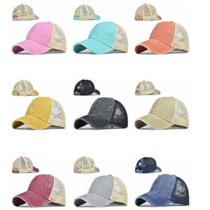 Ponytail Ball Caps Cross Messy Buns Hats Girls Summer Washed Cotton Hat Unisex Sun Visor Baseball Cap Outdoor Snapbacks Cap with Label B7585