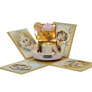 Candy Cat Doll House Explosion CASA DE BONECA POPPENHUIS Box Accessories Miniature Dollhouse Kit Toys Y200704