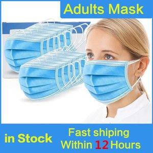 Desechable mascarilla de 3 capas gancho auricular boca Máscaras de la cubierta de 3 capas no tejidos desechables suave de la máscara al aire libre respirable parte de DHL enmascara el envío libre