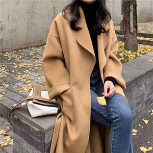 Double-Sided 100% Real Wool Cashmere Coat with Belt Office Lady Casual Turn-down Collar Solid Color Coat Manteau Femme Hiver