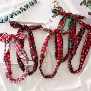 Fashion Women Girl Hair Band Christmas Hair Accessories Snowflake Pattern Plaid Bow Bunny Ears Elastic Headband Xmas Headdress