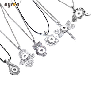 New Arrival 24pcs lot pendant necklaces for women with snake chain fit 18mm snap button jewelry DZ0225-30