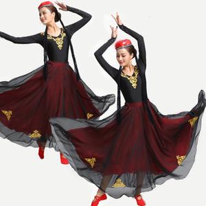 Kadınlar Xinjiang ulusal kostüm Uygur dans giyim setleri kadın Çinli halk dansı sahne performansı giyim
