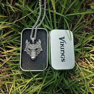 Pendentif pas cher Colliers LANGHONG Vikings Norse collier pendentif loup Norse tête Bijoux Collier original animaux loup Head hangement