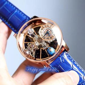 Статическая версия EPIC X CHRONO CR7 астрономический турбийон скелет авантюрин циферблат швейцарские кварцевые мужские часы корпус из розового золота синий ремешок часы