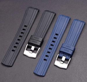 JAWODER 20 mm Noir Bleu Bracelet étanche plongée en caoutchouc de silicone du bracelet montre bracelet en acier inoxydable Argent déploiement Boucle pour Omega