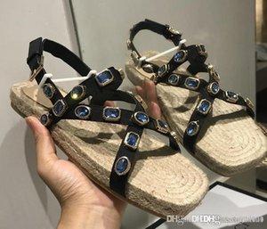 Новый Grosgrain эспадрилья сандалии с кристаллами роскошные дизайнерские туфли Женские сандалии 573024 HC5C0 1000 повседневная мода размер 35-41