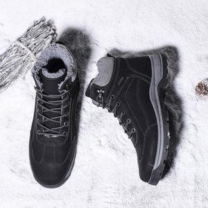 Warm Herren Boots Winter New Große Herren Schneestiefel Velvet Padded Hoch-Spitze-Baumwollschuhe wasserdichte Anti-Rutsch-Short-Klassiker