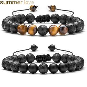 Ajustável Volcanic Lava Pedra Bead Bracelet Yoga Lava Essential Oil Difusor Bead trançado pulseiras cura Balance For Men Mulheres