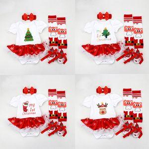 Bebek Kız Karikatür Romper 12 Renk Merry Christmas Tema Tulum Dantel Papyon Nokta Çizgili Onesies Bodysuit Ayak Kapak Bandı ayakkabı 06