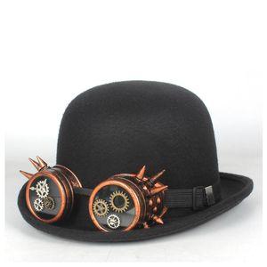 Women Men Black Wool Steampunk Bowler Hat Topper Steampunk Hat With Gear Glasses Top Hats Fedora Magician Billycock Groom