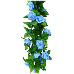 2.5m Artificial Rose Garland Silk Flower Vine Ivy Home Wedding Garden Decoration Blue