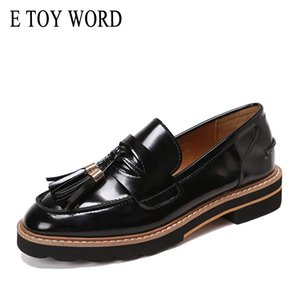 wholesale TOY WORD Spring autumn women loafers Flats Shoes round toe patent leather tassel oxford shoes women sewing slip-on women shoes