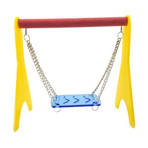 Pet Swing Colorful Plastic Hammock Bird Perch Standing Play Toy for Small Parrot Hamster Cage Accessory