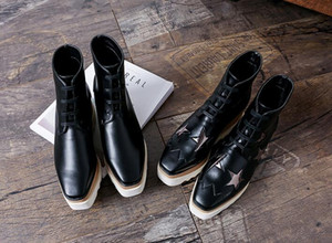 Femmes Mode Stella Elyse Bottes bout carré Etoiles à lacets Wedge plate-forme Chunky Saw-bord de la semelle Mccartney Chaussures Chaussures