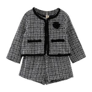 Moda muchachas de los cabritos de la ropa del temperamento a cuadros nuevos cortos de la chaqueta Set 2 piezas Traje de Traje del chándal de la niña de alta calidad