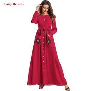 Abaya musulmana per le donne turchia abito lungo camicia a fasciatura Dubai Bangladesh Caftano rosso Caftano abbigliamento islamico Plus Size Robe 2019