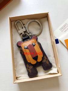 Fashion leather Keychains Key Buckle Purse Pendant Bags Stainless Steel Chains Key Buckle Highly Quality with Box