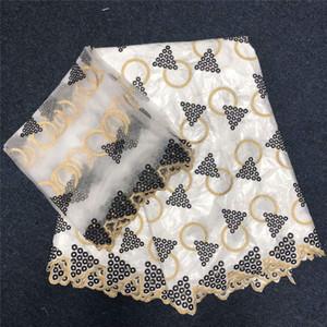 Frisado Africano Bazin Getzner Brocade Fabric 5 Yards damasco Shadda Guiné Brocade Lace tecido com 2 Yards Francês Lace 30