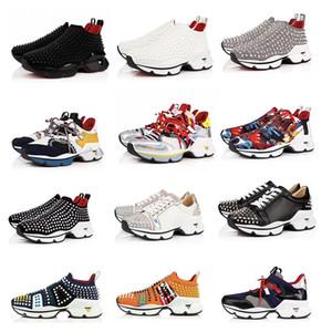 2019 Designer Chaussures Spike Chaussette Hommes Sneakers Plate-forme Rouge Donna Plat en caoutchouc Femmes Rouge Bas Spike De Luxe Chaussures formateurs plats 16 couleur