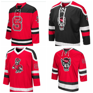 NCAA Mens Nc State Wolfpack Black Mr. Plow Wolfhead Hockey College Jersey wear تطريز مصممة خصيصا لأي اسم أي رقم