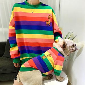 Inverno do proprietário do animal de estimação roupas para cachorros para Dog Hoodie do arco-íris Pet Matching Roupa Pug Francês Roupa Buldogue para cães Costume Ropa Perro