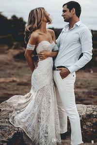 2020 Boho Summer Off Shoulder Bohemian Новый Пляж Backless свадебное платье Lace Transparent Современные Длинные свадебное платье сшитое Повседневный Fishtail