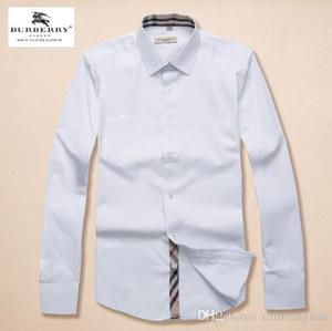 Фирменные мужские Бизнес Повседневная рубашка мужская с длинным рукавом в полоску пригонки Камиза masculina социальные мужские рубашки новой моды рубашки # 1571000