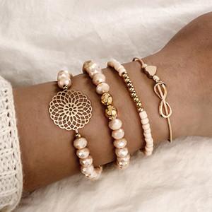 4 pcs / set Boho Heart Orange Crystal Beadeds Bracelet Set Flower Chains Adjustable Beweler Bangle Jewels for Women