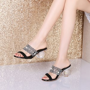 Ebullient2019 Coarse Genuine Leather Slipper Woman Other Clothes Toe Summer High With Silver One Font Fish Mouth Cool Drag Rhinestone