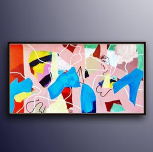 Handmade Oil Painting On Canvas Large Wall Art Wide Painting Puzzle Abstract Colorful Art On Canvas Home Decor For Girl Room