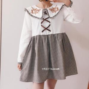Japon tatlı lolita elbise bağbozumu bandaj kafes ekleme büyük yaka Victoria elbise kawaii kız gotik lolita op loli Cos
