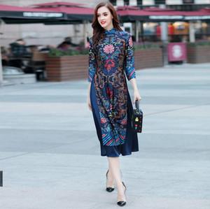 Primavera Outono Cheongsam Vietnamita mulher de meia-idade autêntica elegante longo manga formal, ocasional modificado oder vestido bordado restauração