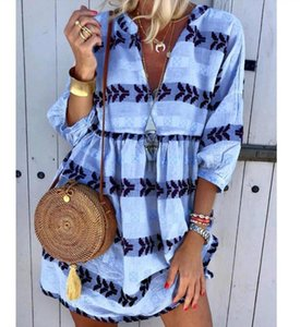 Blouse Shirt For Women 2020 New Three-quarter Sleeves Shirt Dress V-neck Boho Loose Plus Size Beach Print Dress Femmle