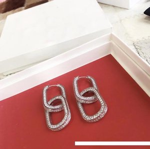 Double Ellipse Studs Earrings Designer Full Diamond Jewelry Luxury Jewelry Earrings Sphere For Ladies New brand jewelry women Christmas Part