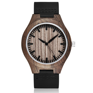 Creative Wooden Watch with Blessing Men Women Leather Minimalist Unique Quartz Wood Wristwatches Gifts Relogio Masculino Clock