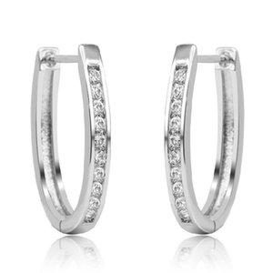 Simple Women Men Silver 925 Sterling Silver Hoop Earrings Switzerland Block CZ Zircon Jewelry Wholesale Brincos Gifts SY224