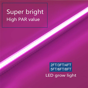 T8 LED Grow Light, High Output Plant Grow Light Strip, Full Spectrum Sunlight Replacement with High PAR for Indoor Plant, 2ft-8ft led tubes