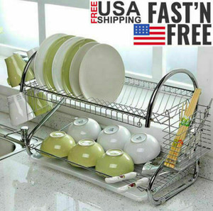 Large Dish Drying Rack Cup Drainer 2-Tier Strainer Holder Tray Stainless Steel Kitchen Storage Dish Racks