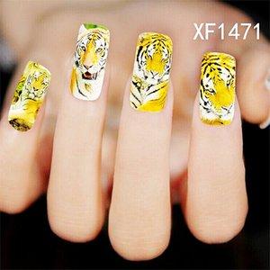 30pcs Lot Nail Art Sticker Animals Tiger Longjin deer zebra Leopard Print Nail Decals Salon Water Transfer Printing Nail art Decal Stickers